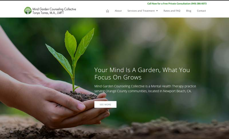 MindGardenCounseling.com, designed by Simple Website Services